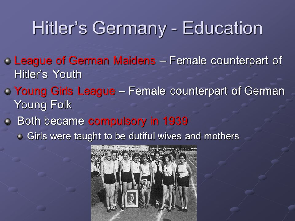 Hitler's Germany - Education League of German Maidens – Female counterpart of Hitler's Youth Young Girls League – Female counterpart of German Young Folk Both became compulsory in 1939 Both became compulsory in 1939 Girls were taught to be dutiful wives and mothers