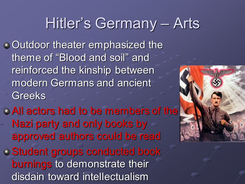 "Hitler's Germany – Arts Outdoor theater emphasized the theme of ""Blood and soil"" and reinforced the kinship between modern Germans and ancient Greeks"