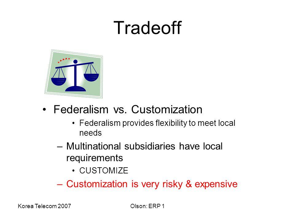 Korea Telecom 2007Olson: ERP 1 Tradeoff Federalism vs.