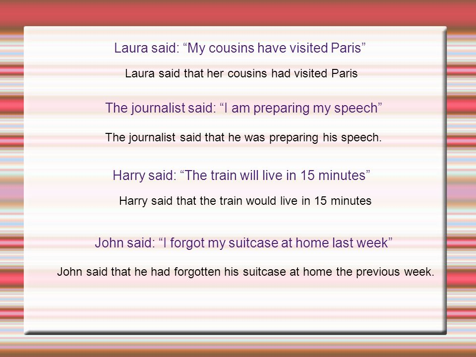 "Laura said: ""My cousins have visited Paris"" Laura said that her cousins had visited Paris The journalist said: ""I am preparing my speech"" The journali"