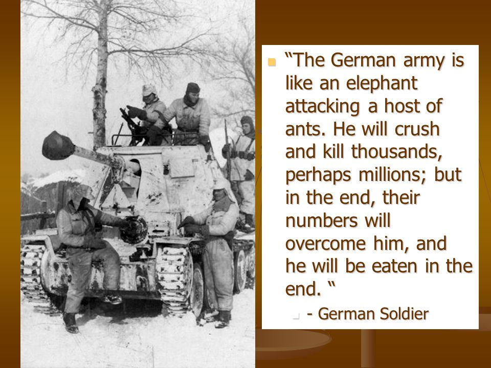 The German army is like an elephant attacking a host of ants.