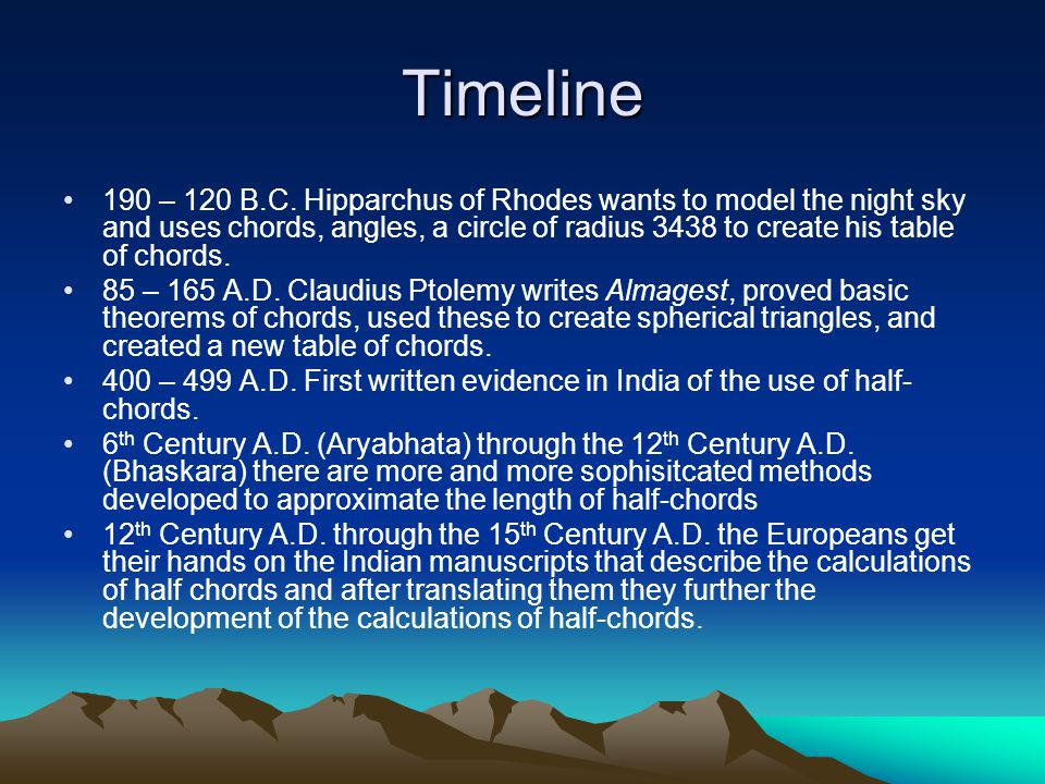 Timeline 190 – 120 B.C. Hipparchus of Rhodes wants to model the night sky and uses chords, angles, a circle of radius 3438 to create his table of chor