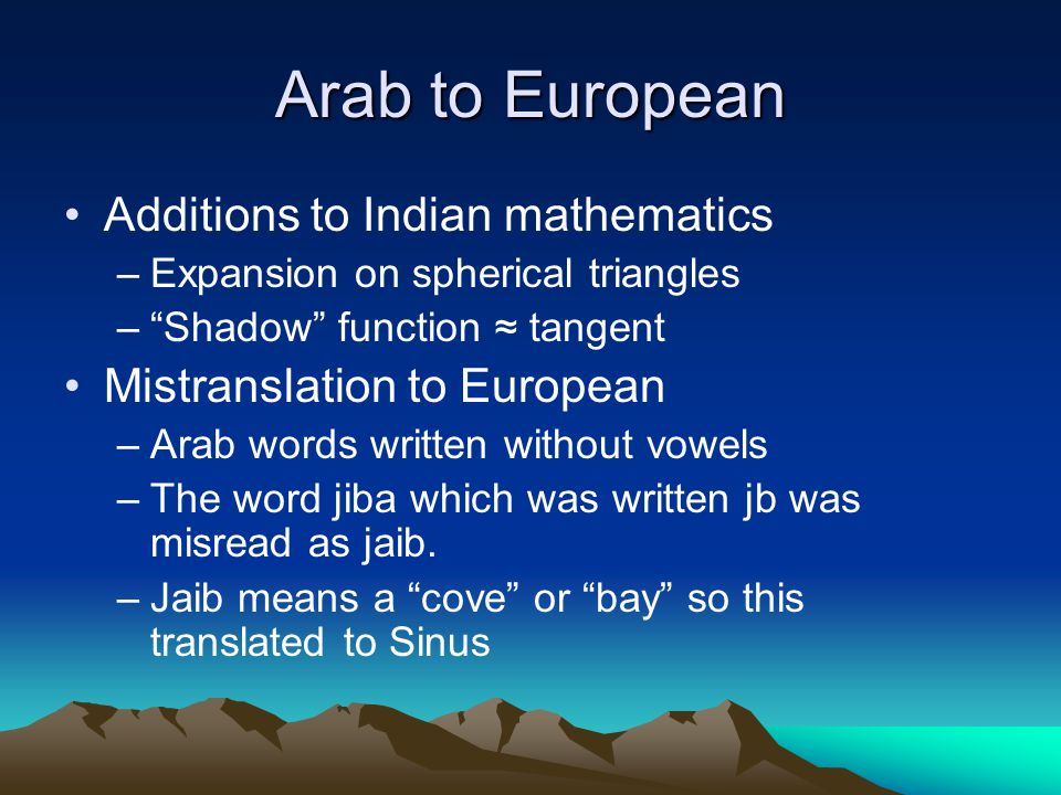"""Arab to European Additions to Indian mathematics –Expansion on spherical triangles –""""Shadow"""" function ≈ tangent Mistranslation to European –Arab words"""