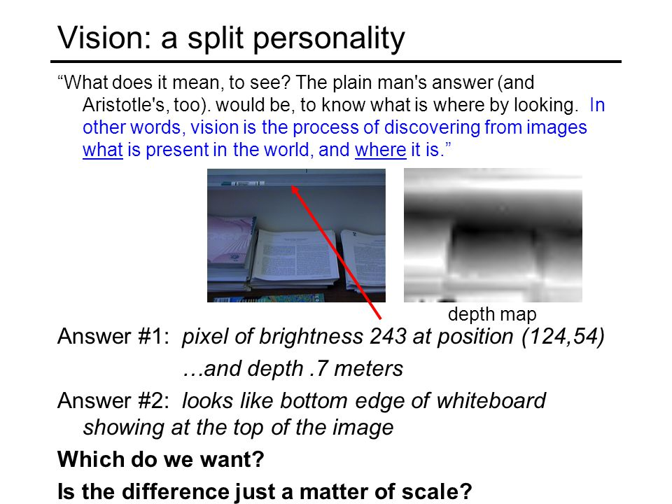 "Vision: a split personality ""What does it mean, to see? The plain man's answer (and Aristotle's, too). would be, to know what is where by looking. In"