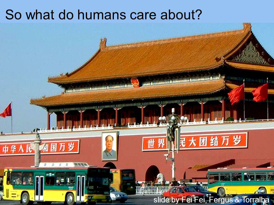 So what do humans care about slide by Fei Fei, Fergus & Torralba