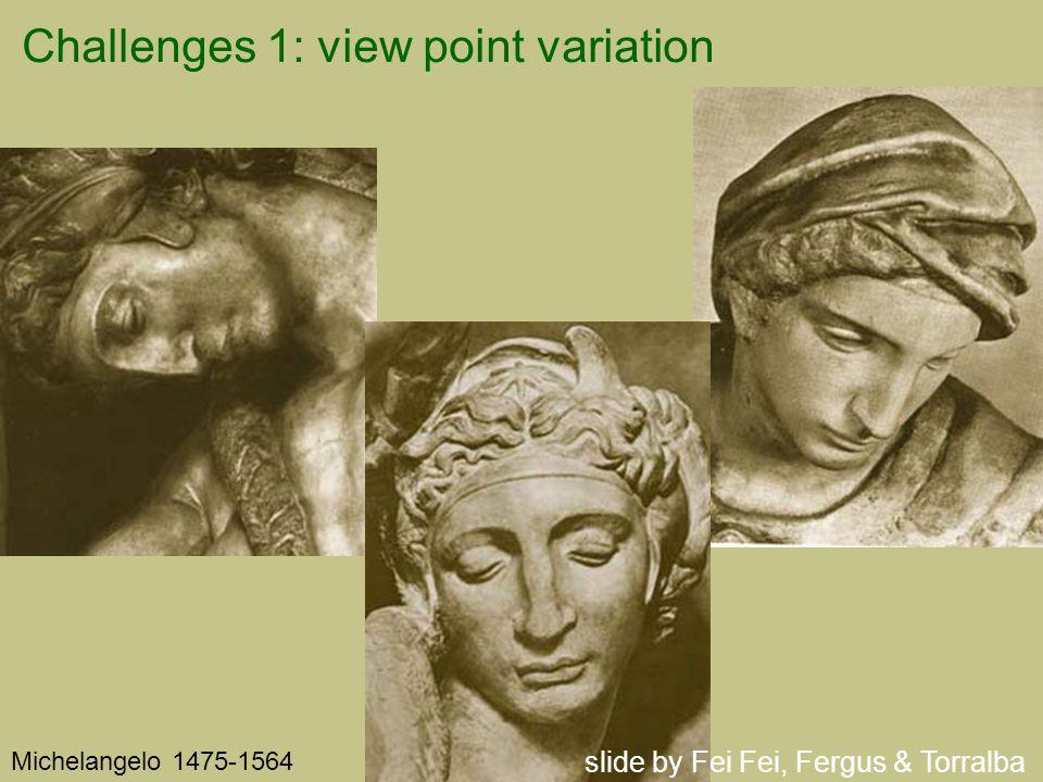 Challenges 1: view point variation Michelangelo 1475-1564 slide by Fei Fei, Fergus & Torralba