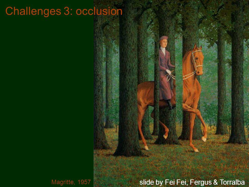 Challenges 3: occlusion Magritte, 1957 slide by Fei Fei, Fergus & Torralba