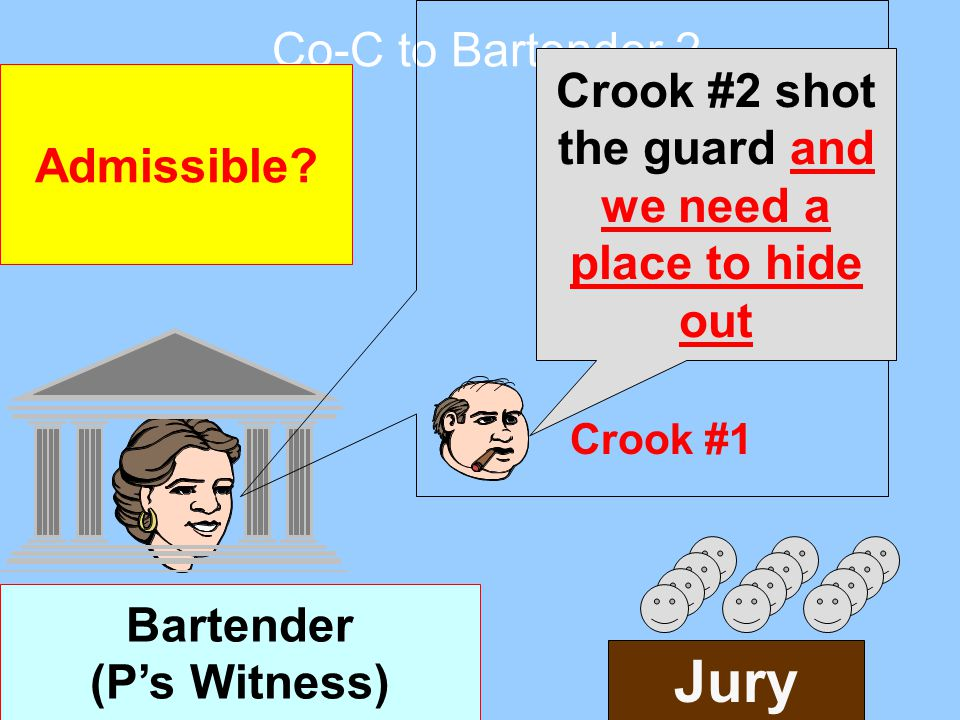 Bartender (P's Witness) Admissible? Jury Crook #2 shot the guard Crook #1 Co-C to Bartender 1