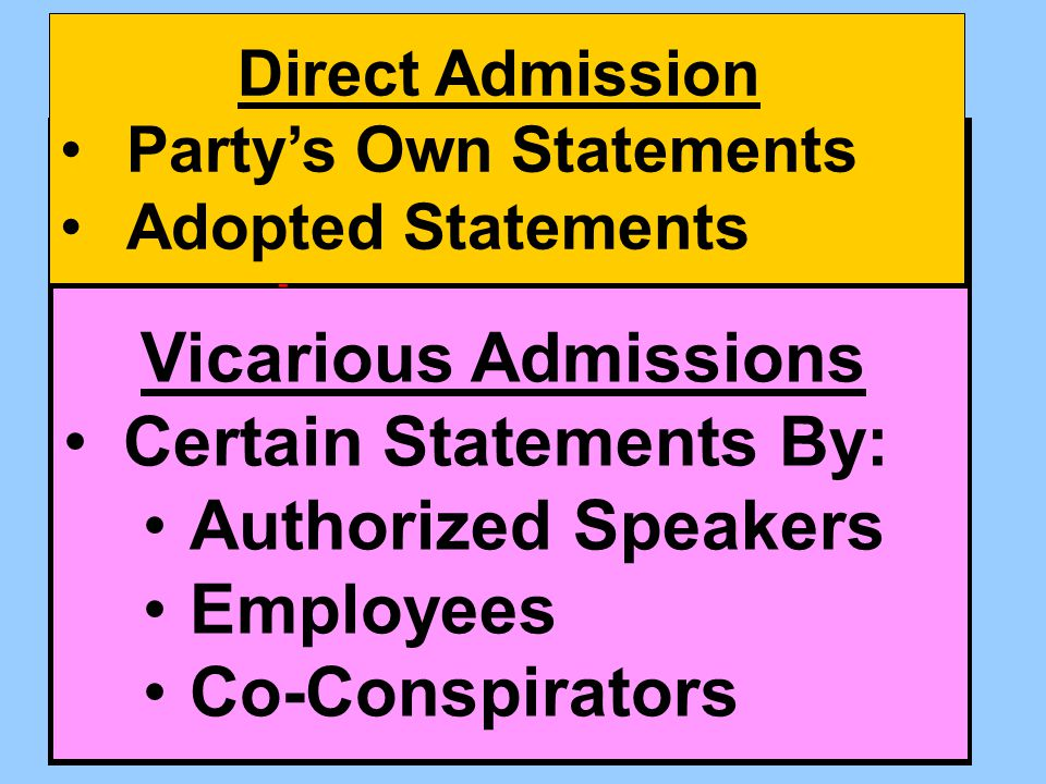Admissions don't need to admit. Admissions don't need to be based on personal knowledge.