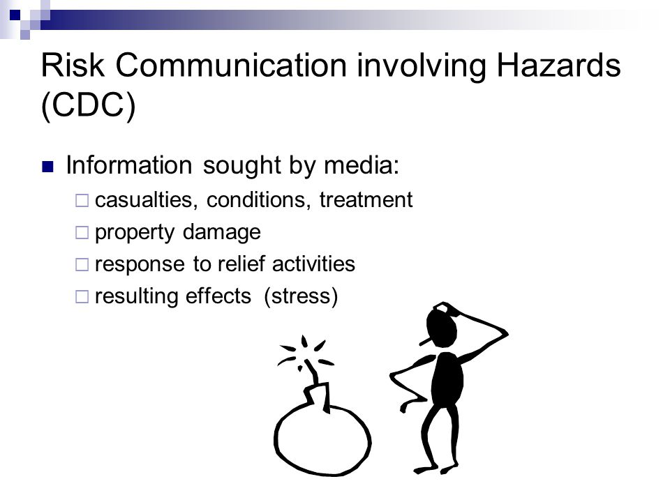 Risk Communication involving Hazards (CDC) Information sought by media:  casualties, conditions, treatment  property damage  response to relief act