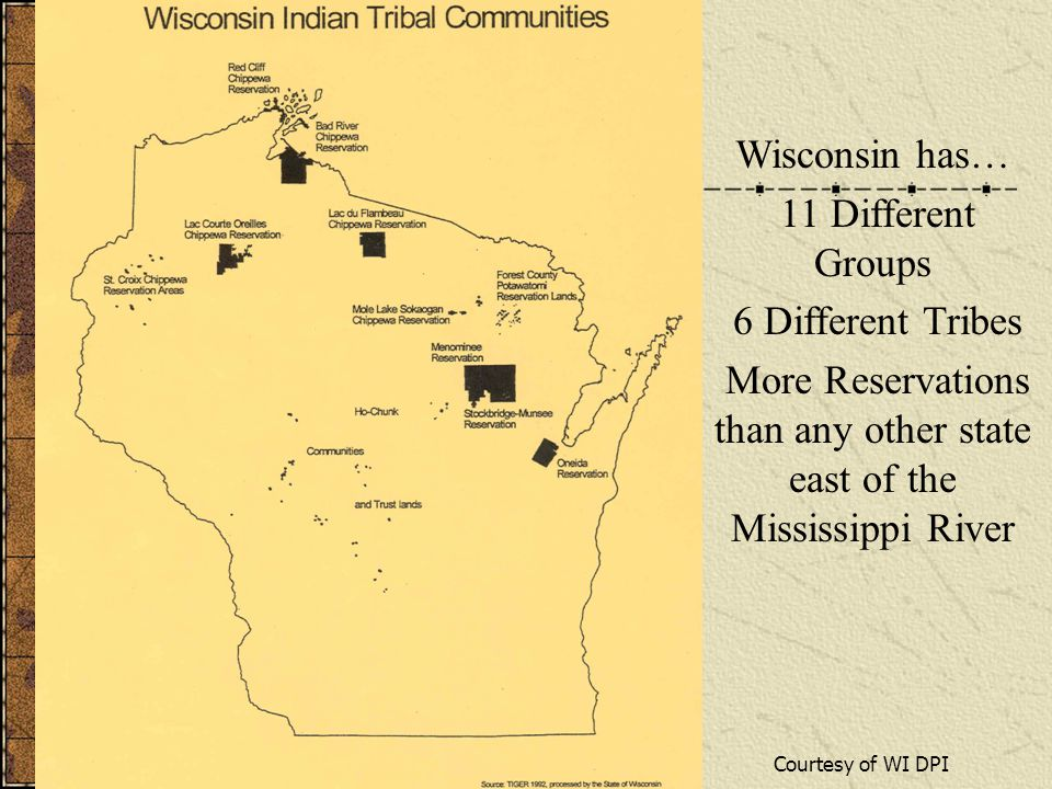 Wisconsin has… 11 Different Groups 6 Different Tribes More Reservations than any other state east of the Mississippi River Courtesy of WI DPI