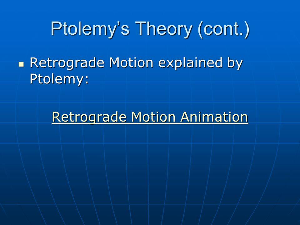 Ptolemy's Theory (cont.) Retrograde Motion explained by Ptolemy: Retrograde Motion explained by Ptolemy: Retrograde Motion Animation Retrograde Motion