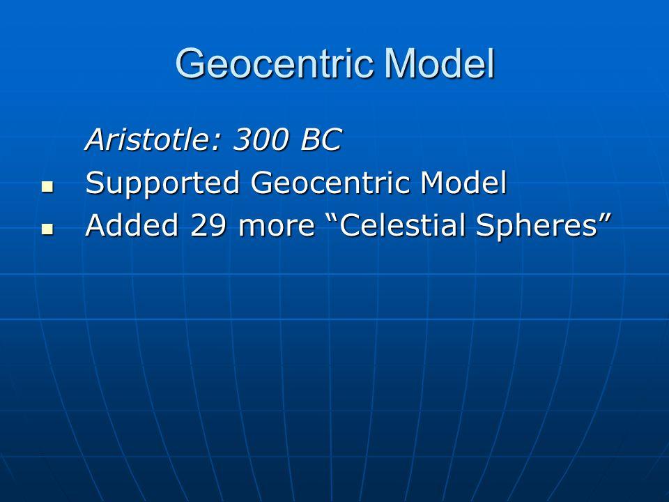 Geocentric Model Aristarchus: 300 BC Student of Plato – proposed idea of the Sun as center of universe.