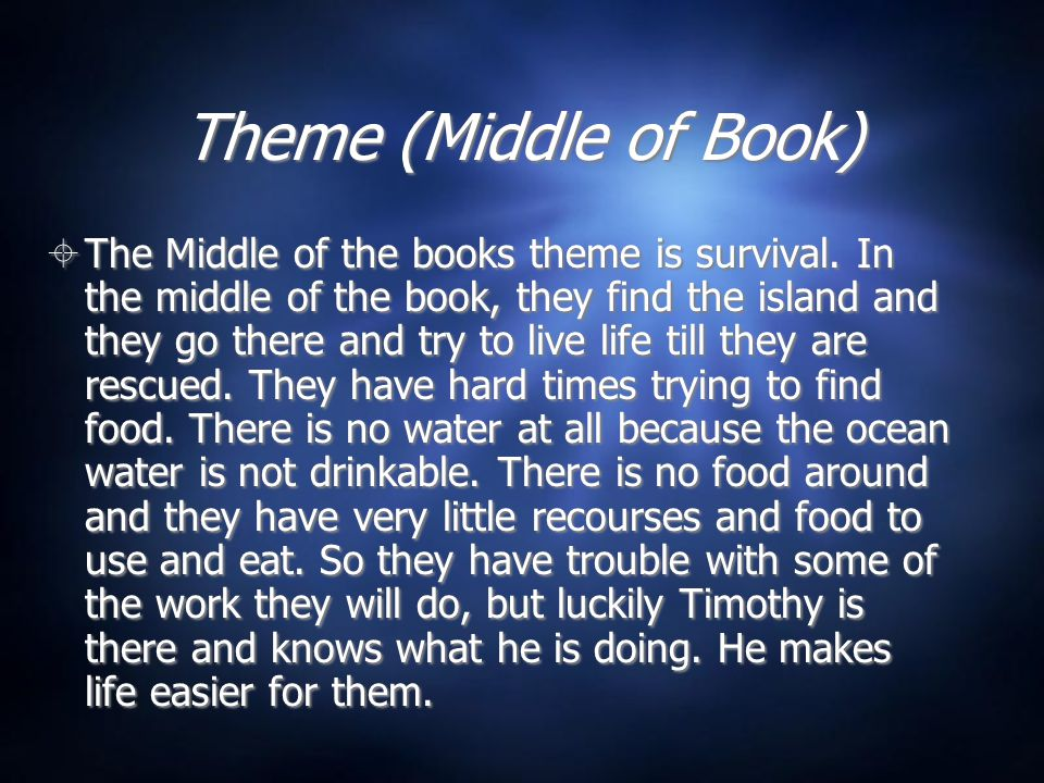 Theme (Middle of Book)  The Middle of the books theme is survival.