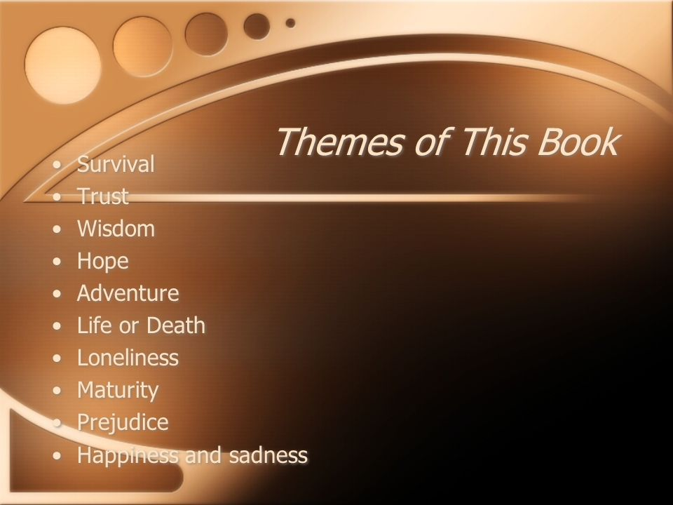 Themes of This Book Survival Trust Wisdom Hope Adventure Life or Death Loneliness Maturity Prejudice Happiness and sadness Survival Trust Wisdom Hope Adventure Life or Death Loneliness Maturity Prejudice Happiness and sadness