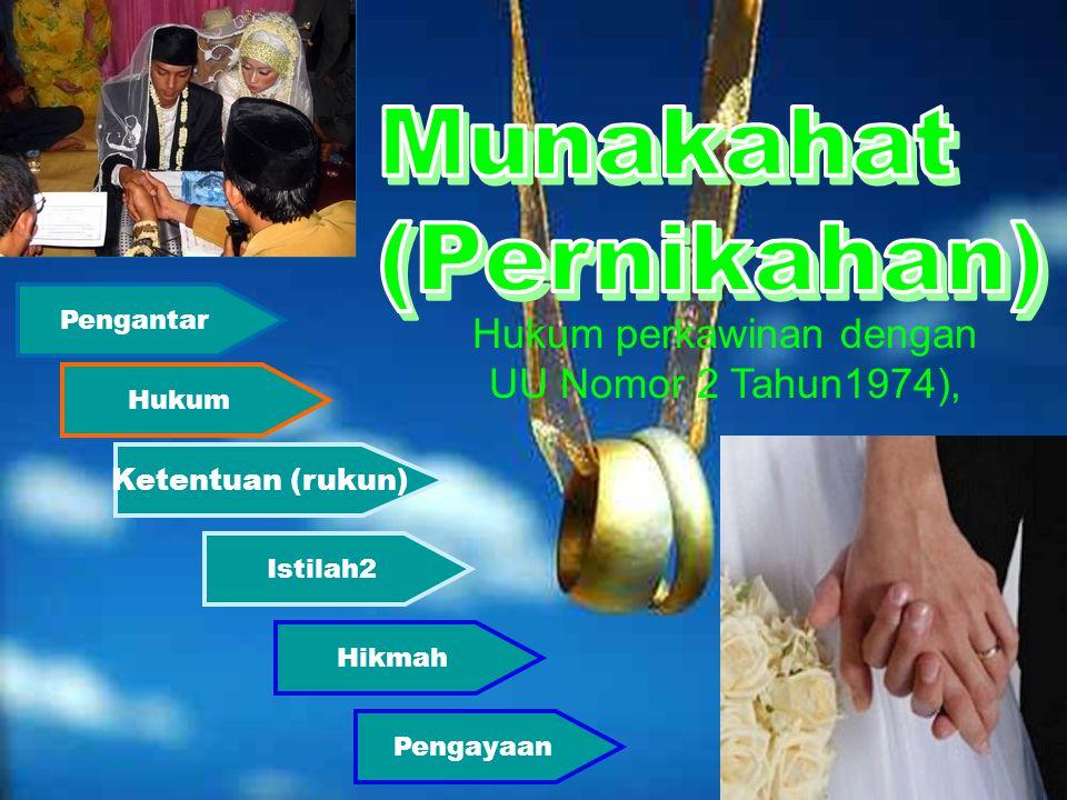 Pengantar Hukum Istilah2 Hikmah Ketentuan (rukun) Pengayaan Hukum perkawinan dengan UU Nomor 2 Tahun1974),