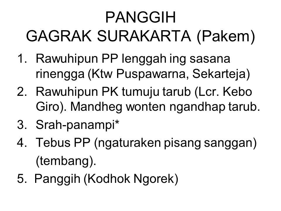 PANGGIH GAGRAK SURAKARTA (Pakem) 1.Rawuhipun PP lenggah ing sasana rinengga (Ktw Puspawarna, Sekarteja) 2.Rawuhipun PK tumuju tarub (Lcr.