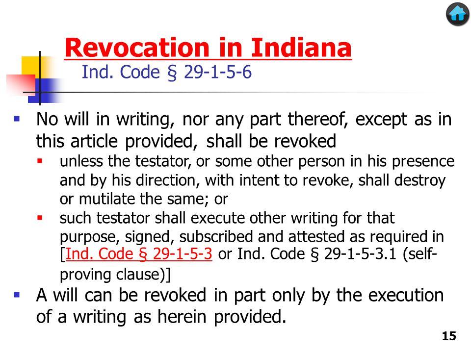 Revocation in Indiana Revocation in Indiana Ind.