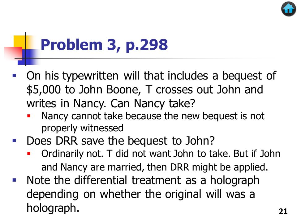 Problem 3, p.298 21  On his typewritten will that includes a bequest of $5,000 to John Boone, T crosses out John and writes in Nancy.