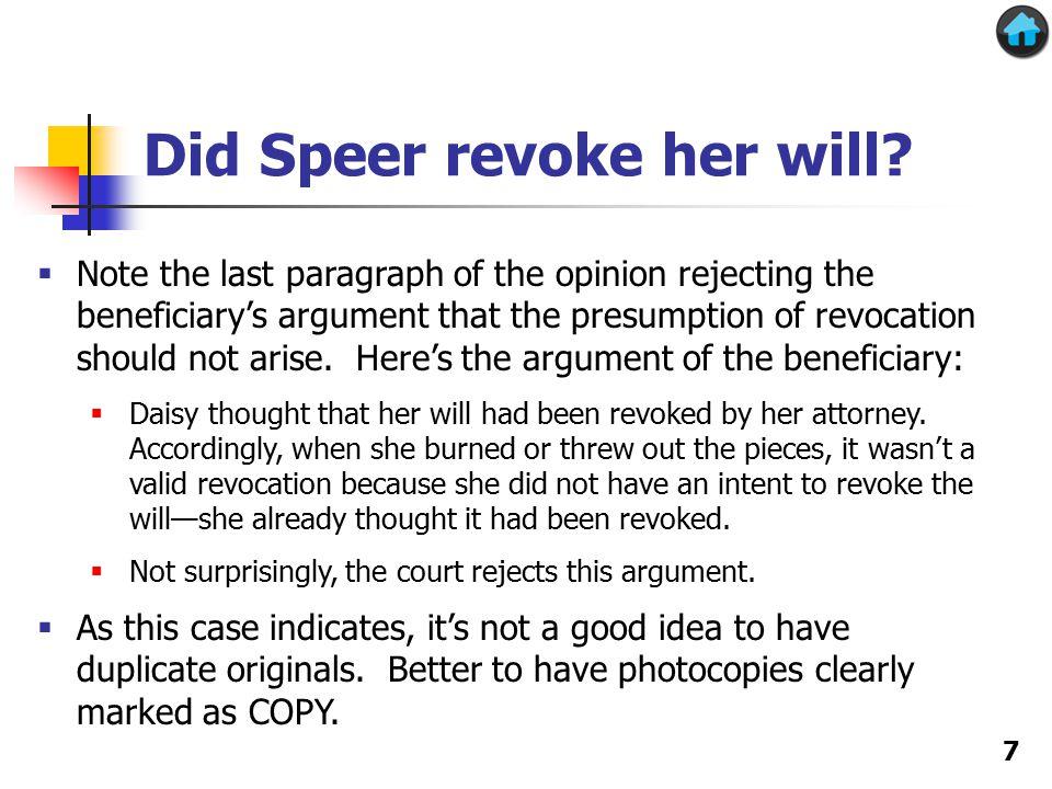 Did Speer revoke her will.