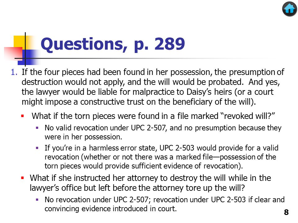 Problems, p.324 T's will describing the envelopes Could uphold under either acts of independent significance or incorporation by reference (if in existence at time of will or later codicil) 2.