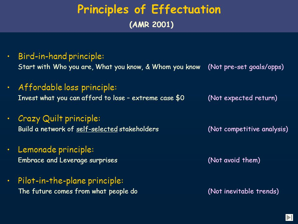 Principles of Effectuation (AMR 2001) Bird-in-hand principle: Start with Who you are, What you know, & Whom you know(Not pre-set goals/opps) Affordable loss principle: Invest what you can afford to lose – extreme case $0 (Not expected return) Crazy Quilt principle: Build a network of self-selected stakeholders (Not competitive analysis) Lemonade principle: Embrace and Leverage surprises(Not avoid them) Pilot-in-the-plane principle: The future comes from what people do (Not inevitable trends)