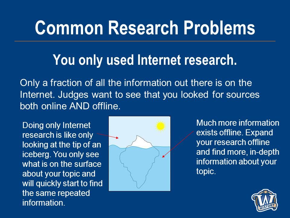 Common Research Problems You only used Internet research.