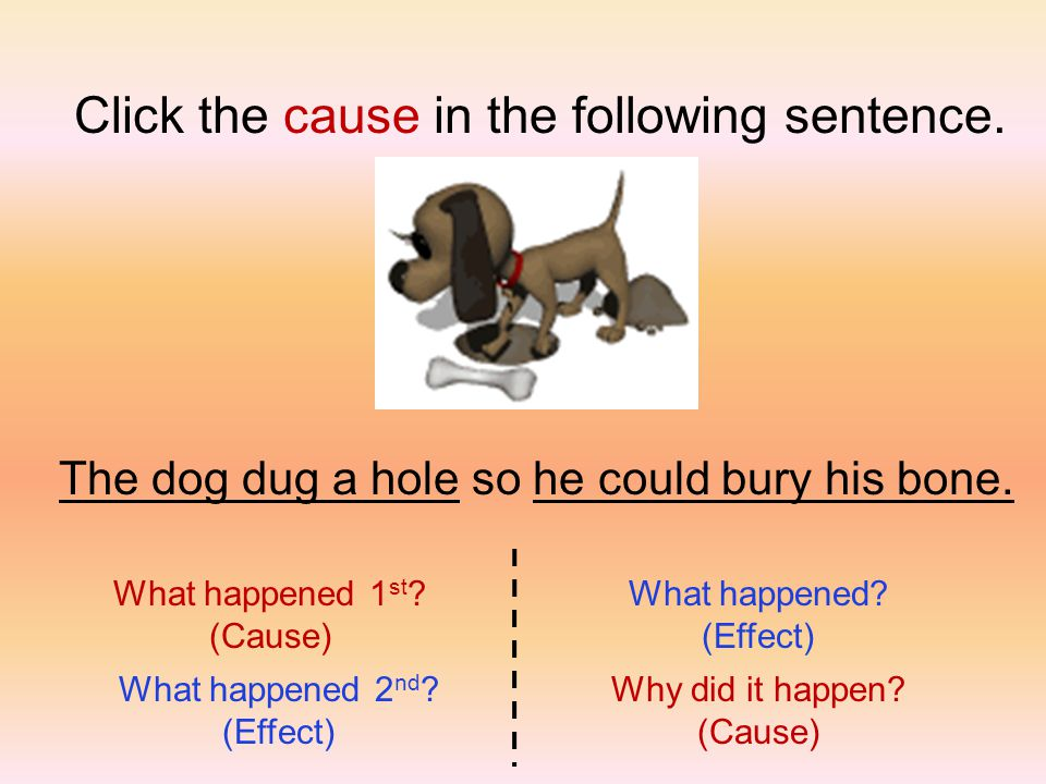 The dog dug a hole so he could bury his bone. Click the cause in the following sentence.