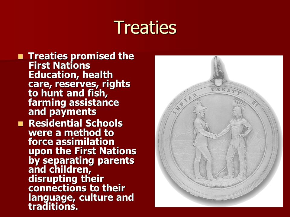 Treaties Treaties promised the First Nations Education, health care, reserves, rights to hunt and fish, farming assistance and payments Treaties promi