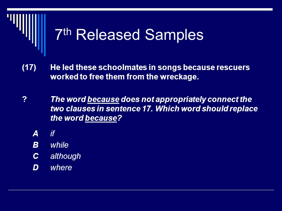 7 th Released Samples (17) He led these schoolmates in songs because rescuers worked to free them from the wreckage.