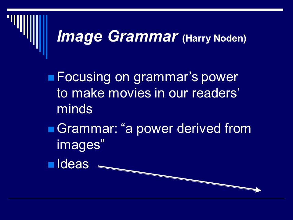 Focusing on grammar's power to make movies in our readers' minds Grammar: a power derived from images Ideas Image Grammar (Harry Noden)
