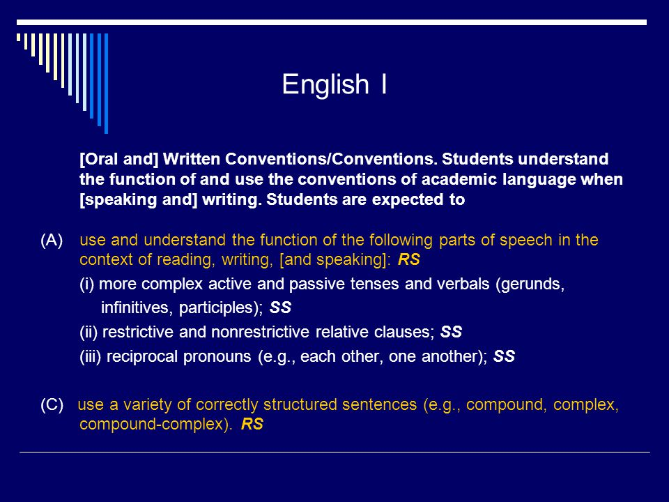 English I [Oral and] Written Conventions/Conventions.