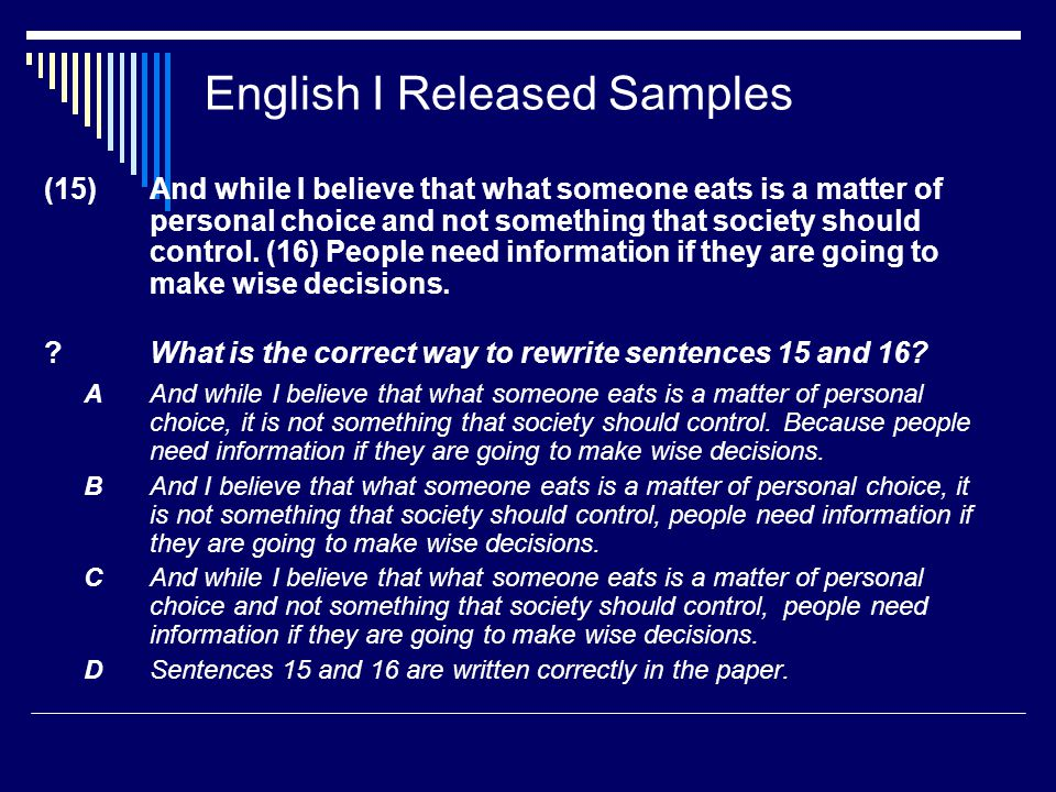 English I Released Samples (15) And while I believe that what someone eats is a matter of personal choice and not something that society should control.