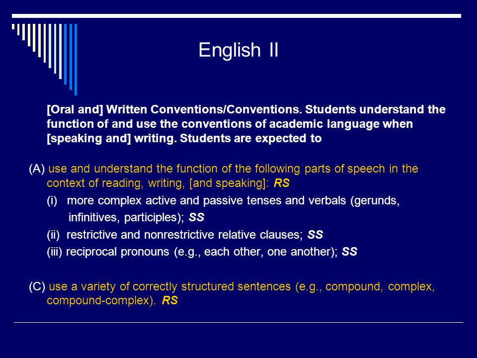 English II [Oral and] Written Conventions/Conventions.