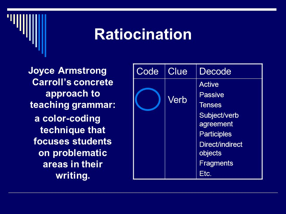 Ratiocination Joyce Armstrong Carroll's concrete approach to teaching grammar: a color-coding technique that focuses students on problematic areas in their writing.