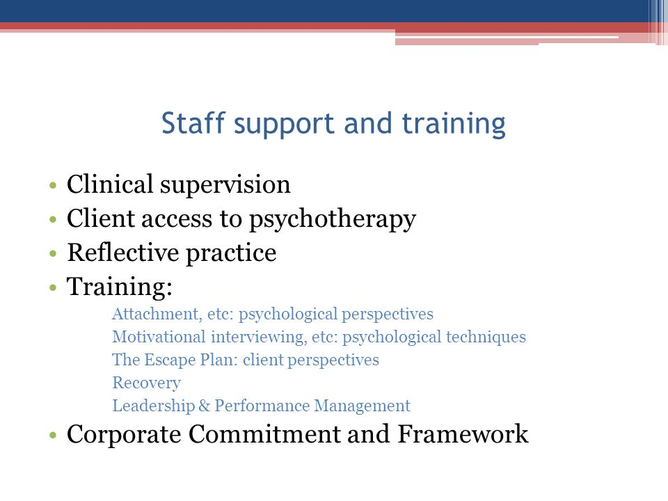 Staff support and training Clinical supervision Client access to psychotherapy Reflective practice Training: Attachment, etc: psychological perspectiv