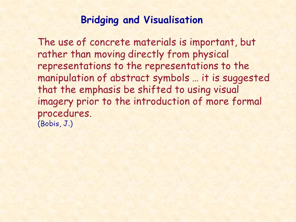 The use of concrete materials is important, but rather than moving directly from physical representations to the representations to the manipulation of abstract symbols … it is suggested that the emphasis be shifted to using visual imagery prior to the introduction of more formal procedures.