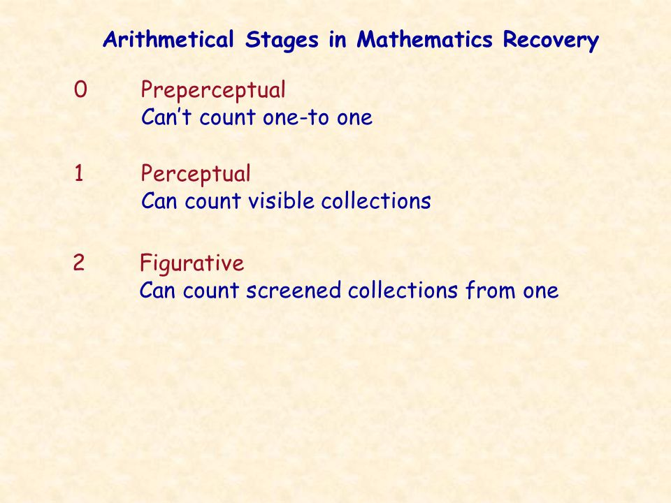 Arithmetical Stages in Mathematics Recovery 0Preperceptual Can't count one-to one 1Perceptual Can count visible collections 2Figurative Can count screened collections from one