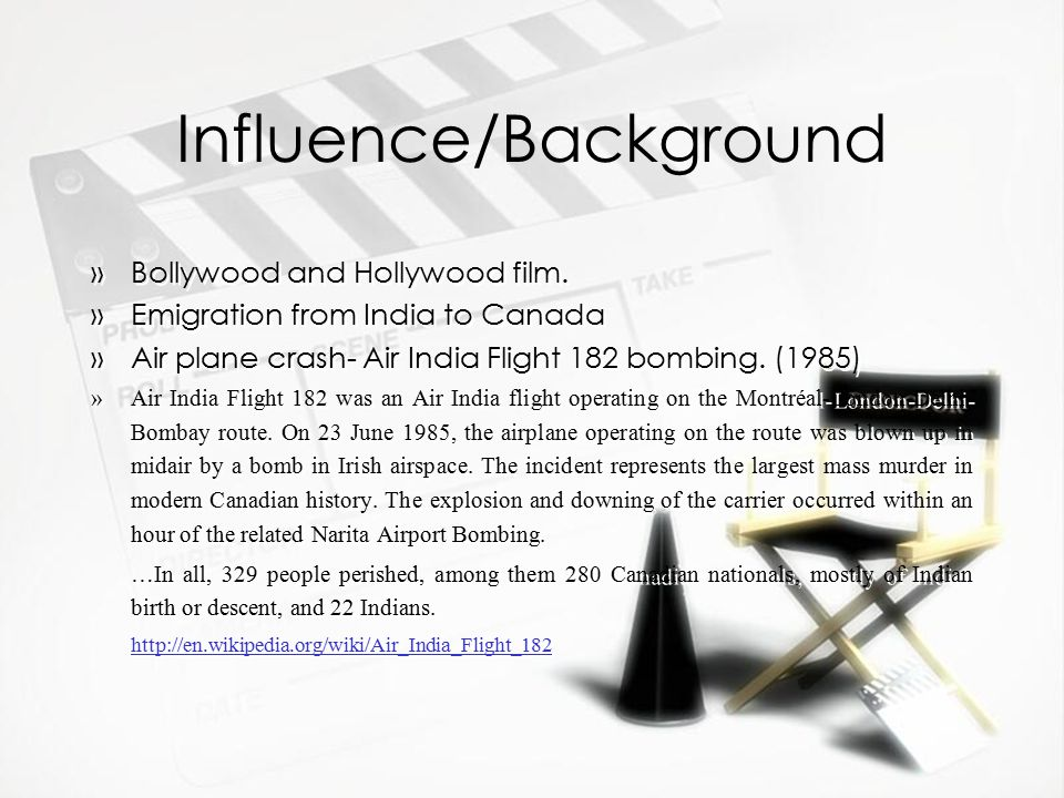Influence/Background »Bollywood and Hollywood film.