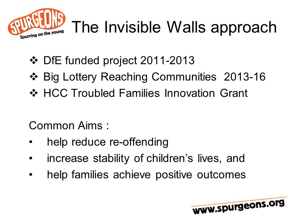 The Invisible Walls approach  DfE funded project 2011-2013  Big Lottery Reaching Communities 2013-16  HCC Troubled Families Innovation Grant Common Aims : help reduce re-offending increase stability of children's lives, and help families achieve positive outcomes