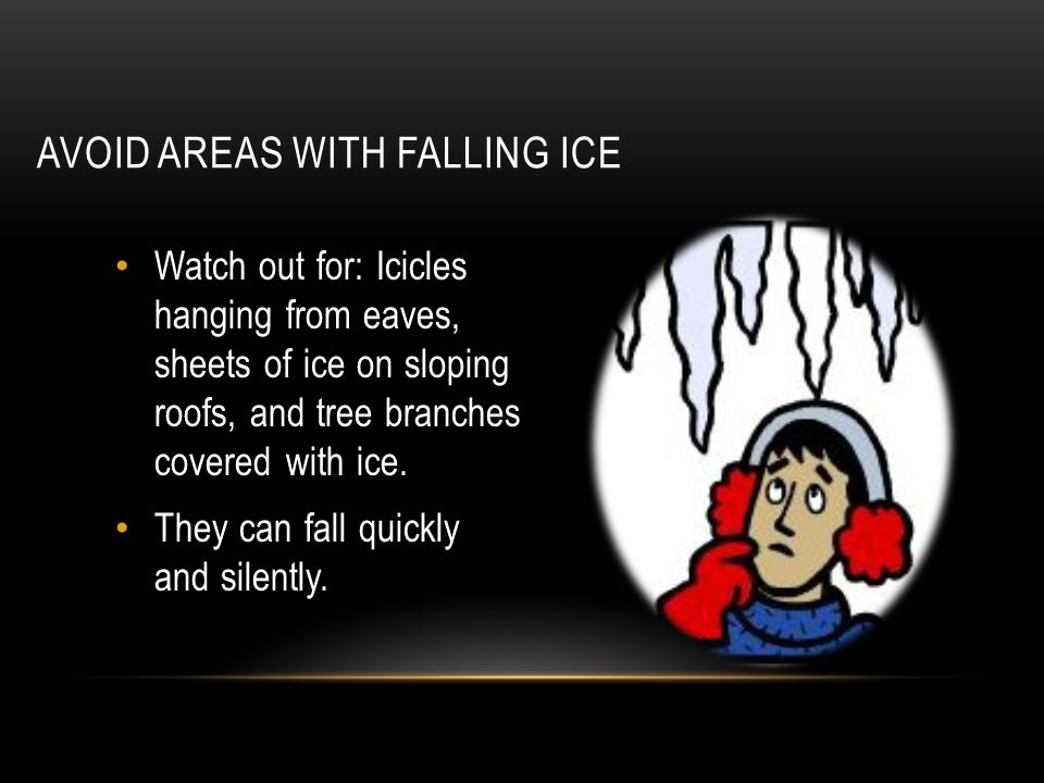 AVOID AREAS WITH FALLING ICE Watch out for: Icicles hanging from eaves, sheets of ice on sloping roofs, and tree branches covered with ice. They can f