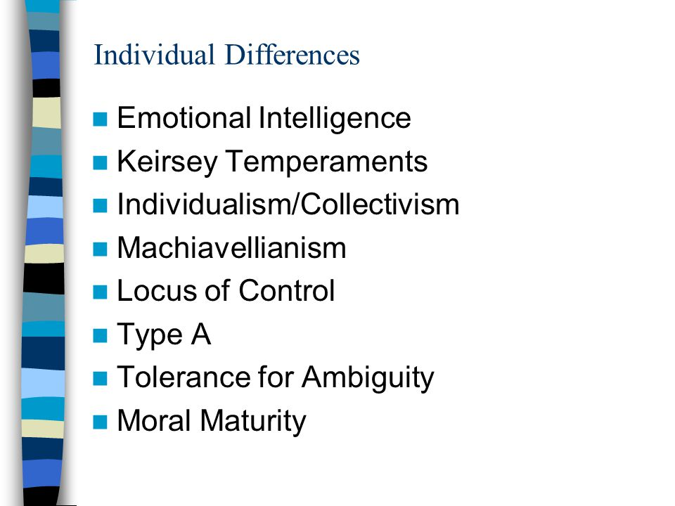 Emotional Intelligence Self-awareness Self-regulation and control; ability to delay gratification Ability to understand others' emotional and behavioral cues Interpersonal skills http://ei.haygroup.com/resources/default_ieite st.htm