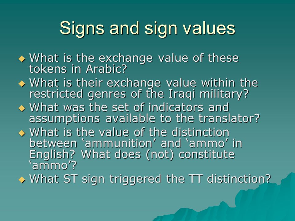Signs and sign values  What is the exchange value of these tokens in Arabic.