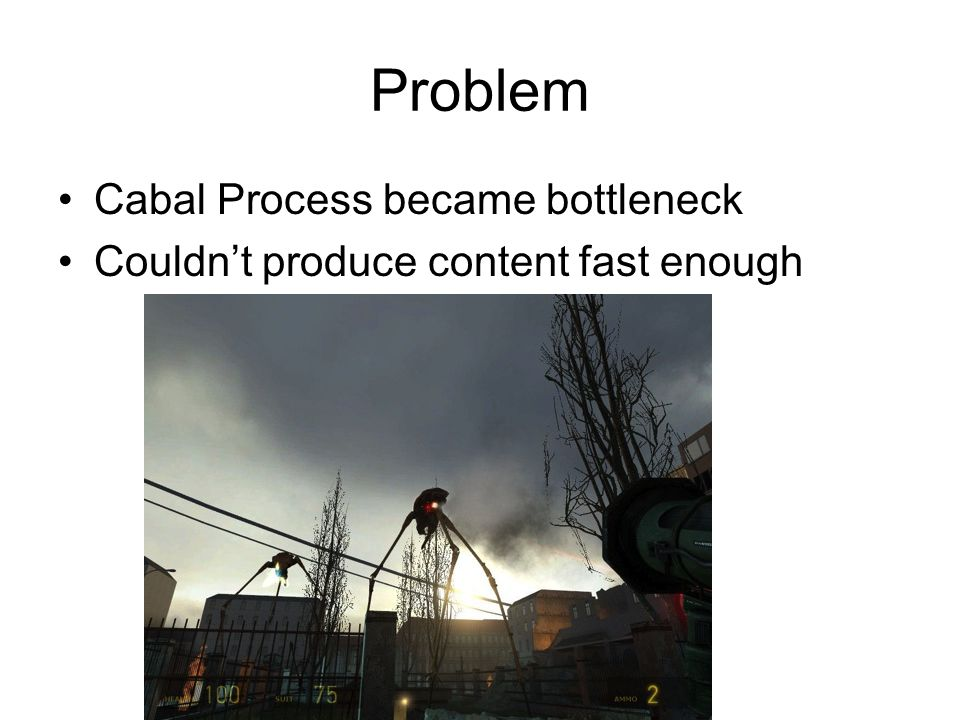 Problem Cabal Process became bottleneck Couldn't produce content fast enough