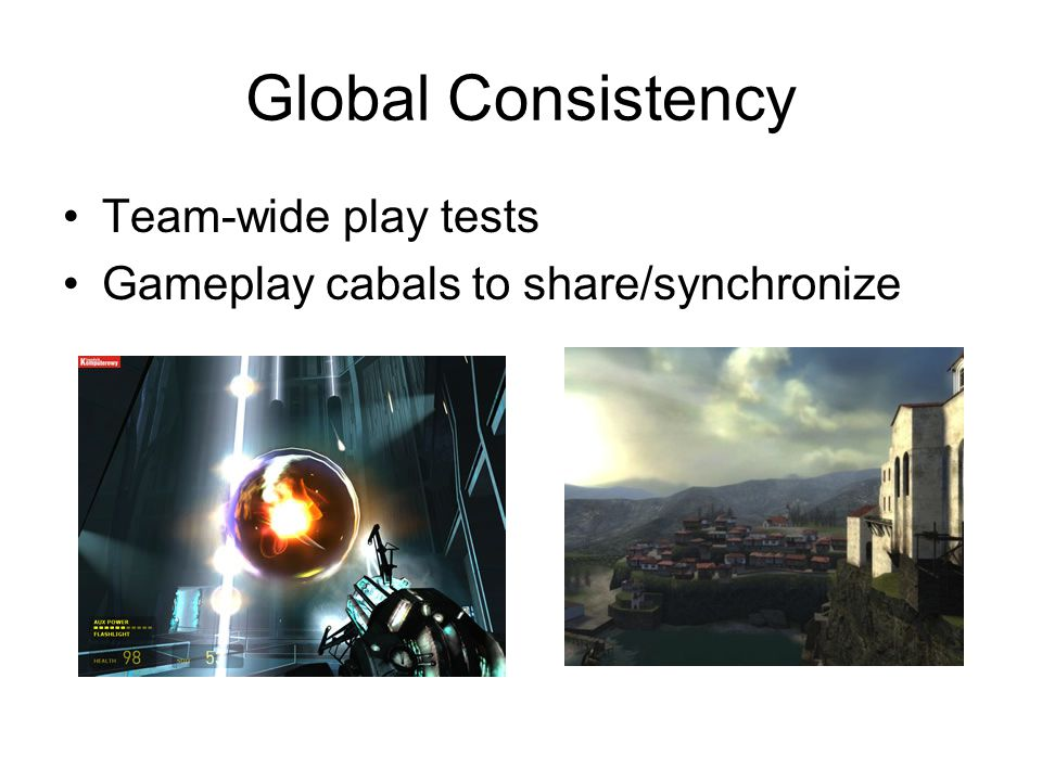 Global Consistency Team-wide play tests Gameplay cabals to share/synchronize