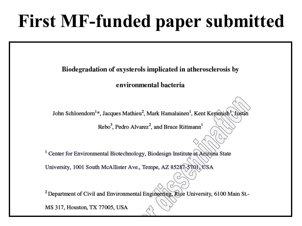 First MF-funded paper submitted