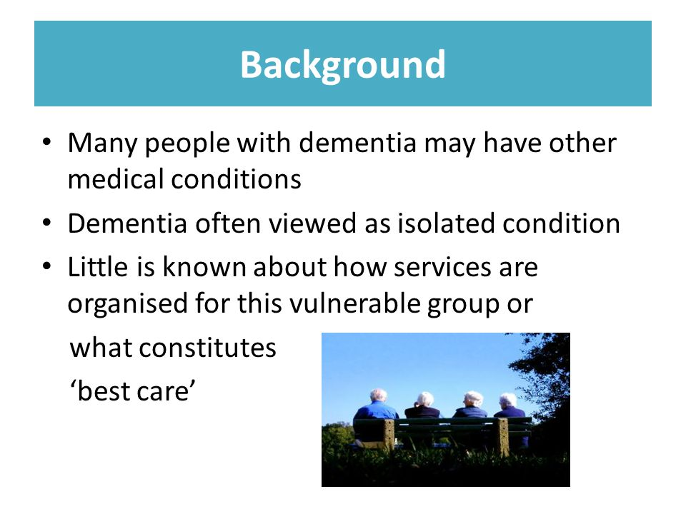 In a previous study reviewing qualitative literature on patient and carer experiences we found 102 studies but there was little evidence relating to the experiences of people diagnosed with dementia who have an accompanying health condition.