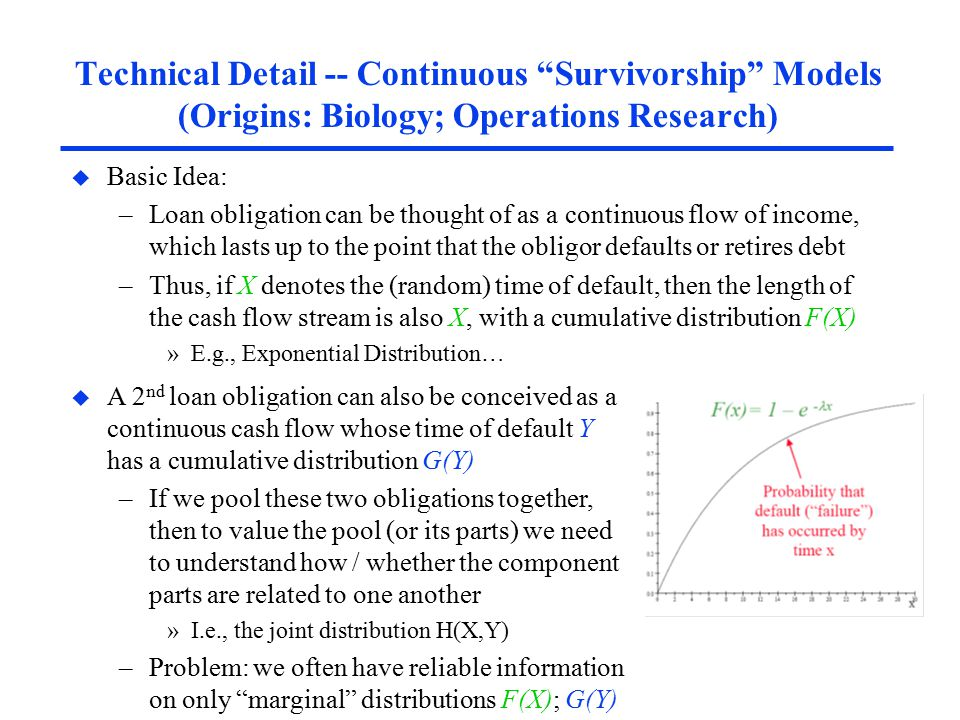 Technical Detail -- Continuous Survivorship Models (Origins: Biology; Operations Research) u Basic Idea: –Loan obligation can be thought of as a continuous flow of income, which lasts up to the point that the obligor defaults or retires debt –Thus, if X denotes the (random) time of default, then the length of the cash flow stream is also X, with a cumulative distribution F(X) »E.g., Exponential Distribution… u A 2 nd loan obligation can also be conceived as a continuous cash flow whose time of default Y has a cumulative distribution G(Y) –If we pool these two obligations together, then to value the pool (or its parts) we need to understand how / whether the component parts are related to one another »I.e., the joint distribution H(X,Y) –Problem: we often have reliable information on only marginal distributions F(X); G(Y)