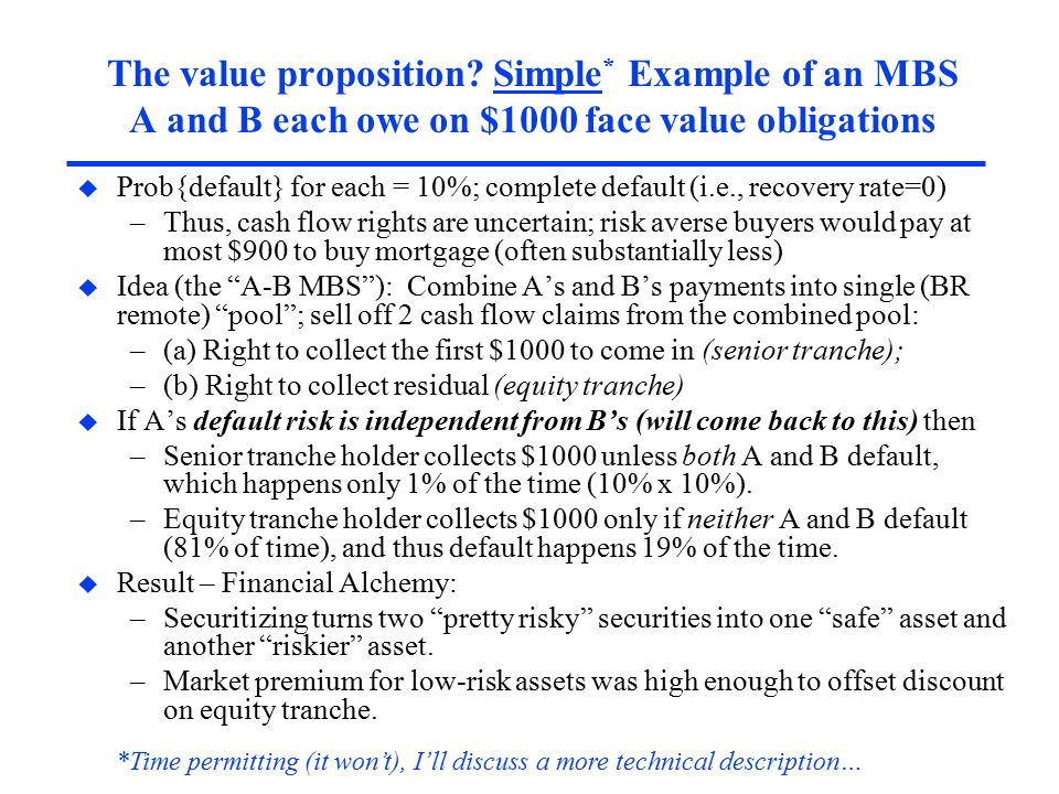 The value proposition? Simple * Example of an MBS A and B each owe on $1000 face value obligations u Prob{default} for each = 10%; complete default (i