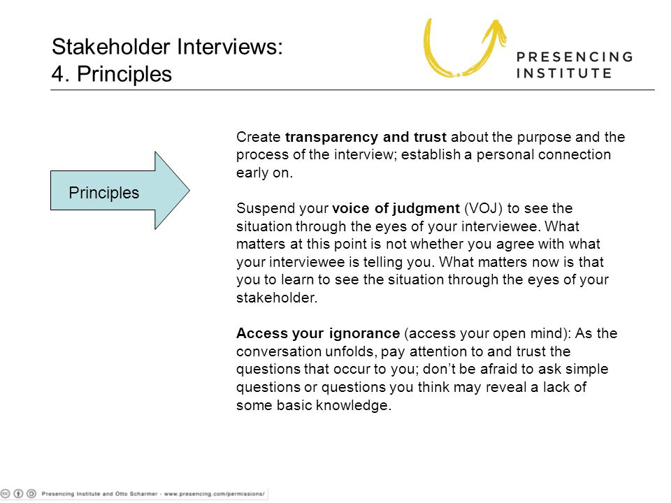 4. Principles Create transparency and trust about the purpose and the process of the interview; establish a personal connection early on. Suspend your